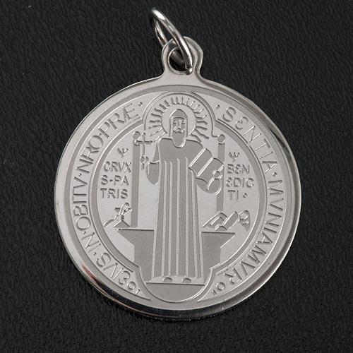 Médaille Saint Benoit acier inoxydable 30mm 3