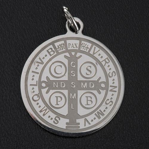 Médaille Saint Benoit acier inoxydable 30mm 5