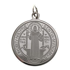 Medaglia San Benedetto acciaio inox 30mm s1