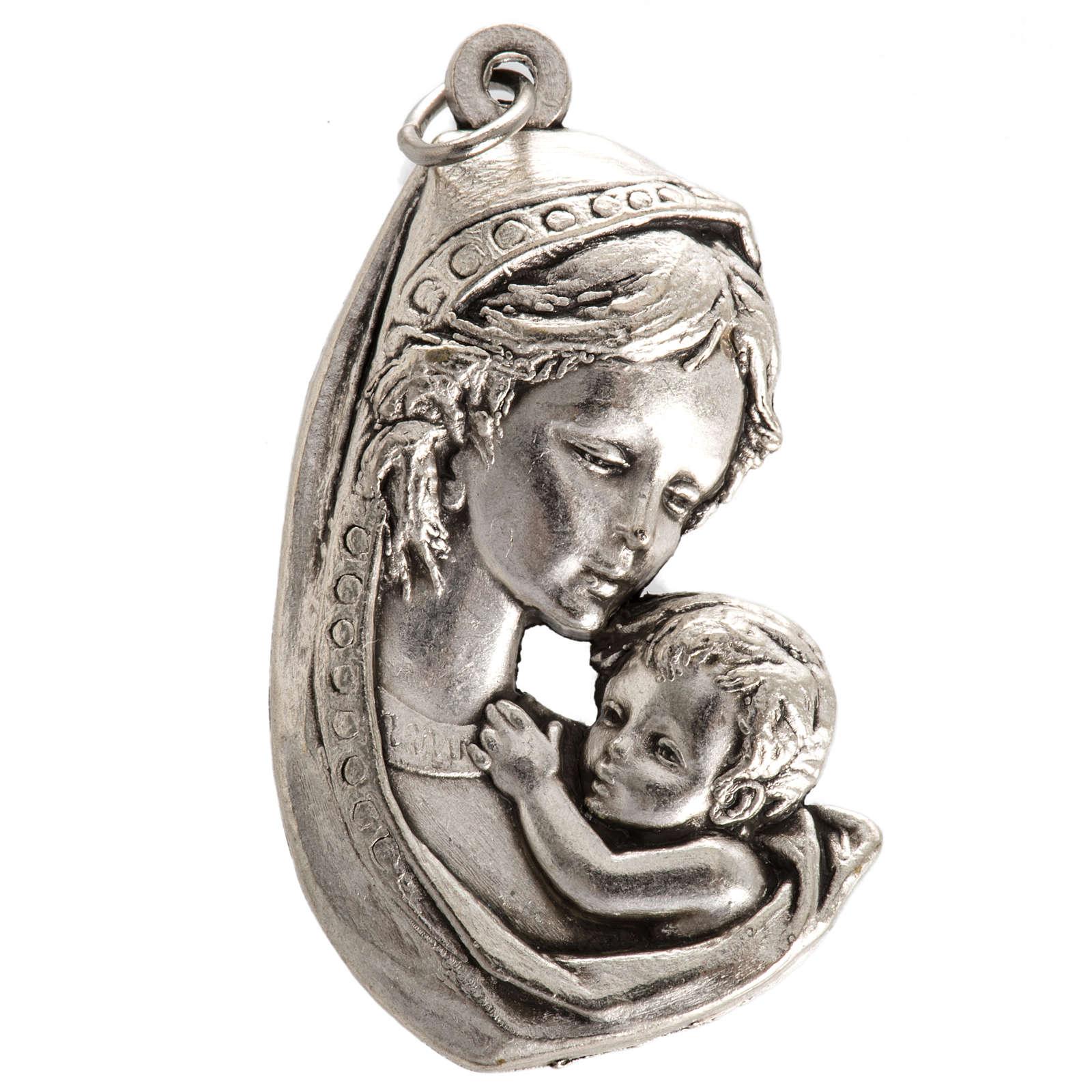 Medaglia Madonna con bimbo metallo argentato 35 mm 4