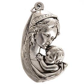 Medaglia Madonna con bimbo metallo argentato 35 mm s1