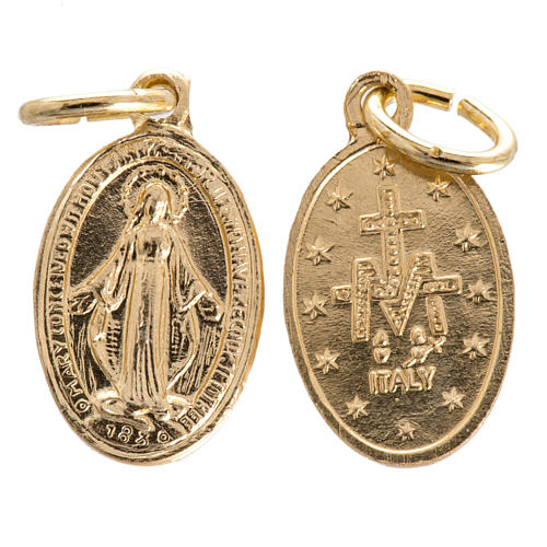 Miraculous Medal in gilded steel 15mm 1
