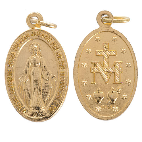Miraculous Madonna, medal in steel 16mm 1