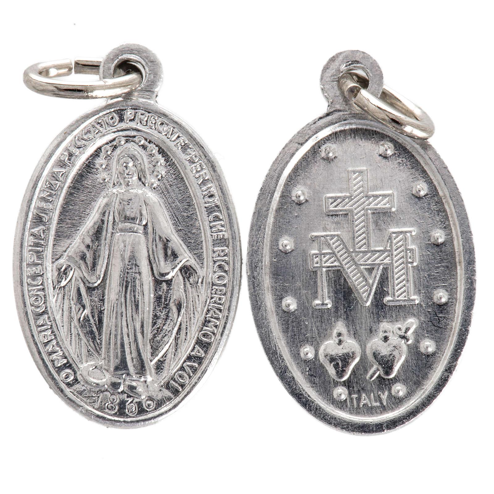 Medalik Matka Boska aluminium posrebrzany 12mm 4