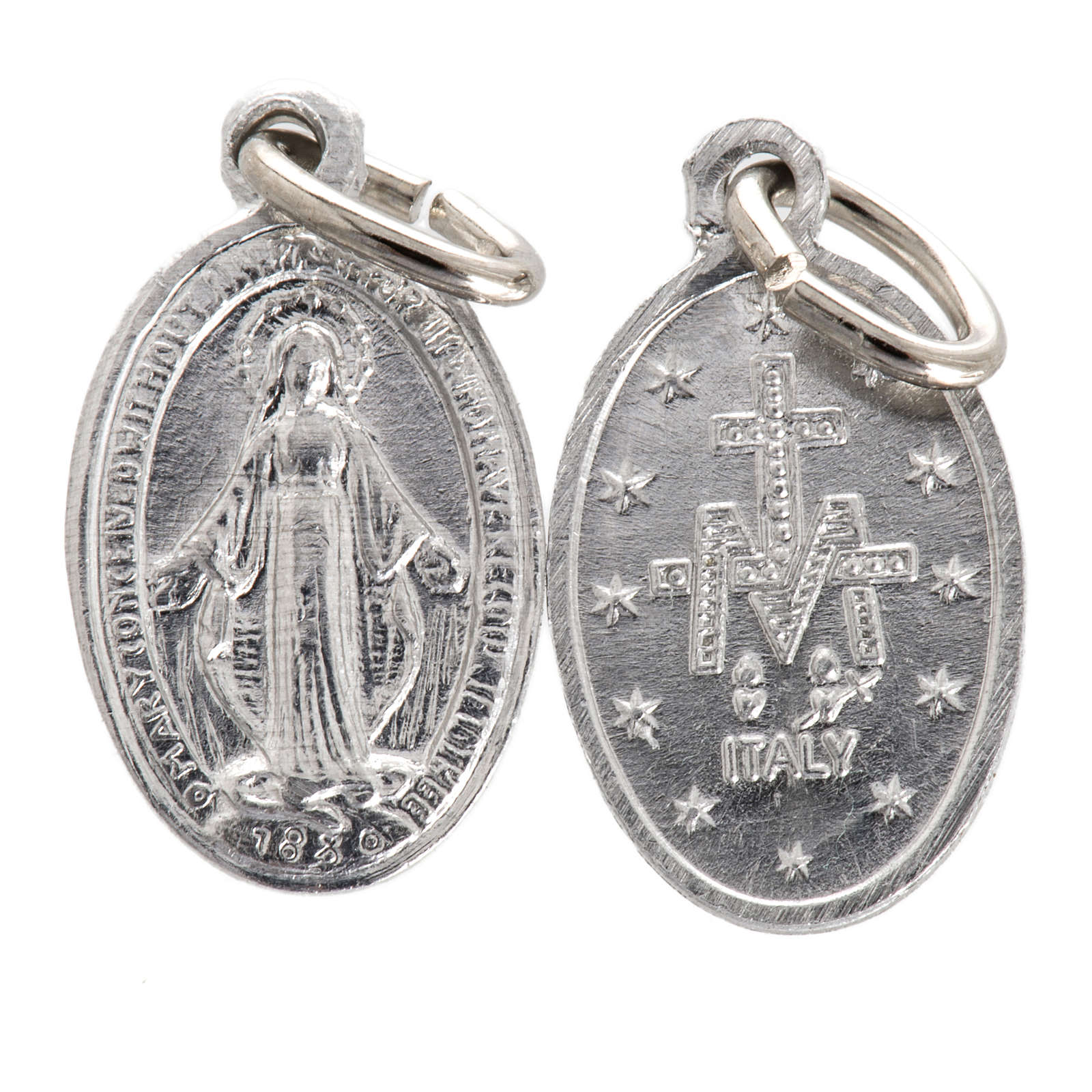 Medalla de la Virgen Milagrosa aluminio plateado 10mm 4