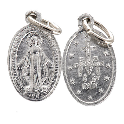 Miraculous Madonna, medal in silver steel 10mm 1