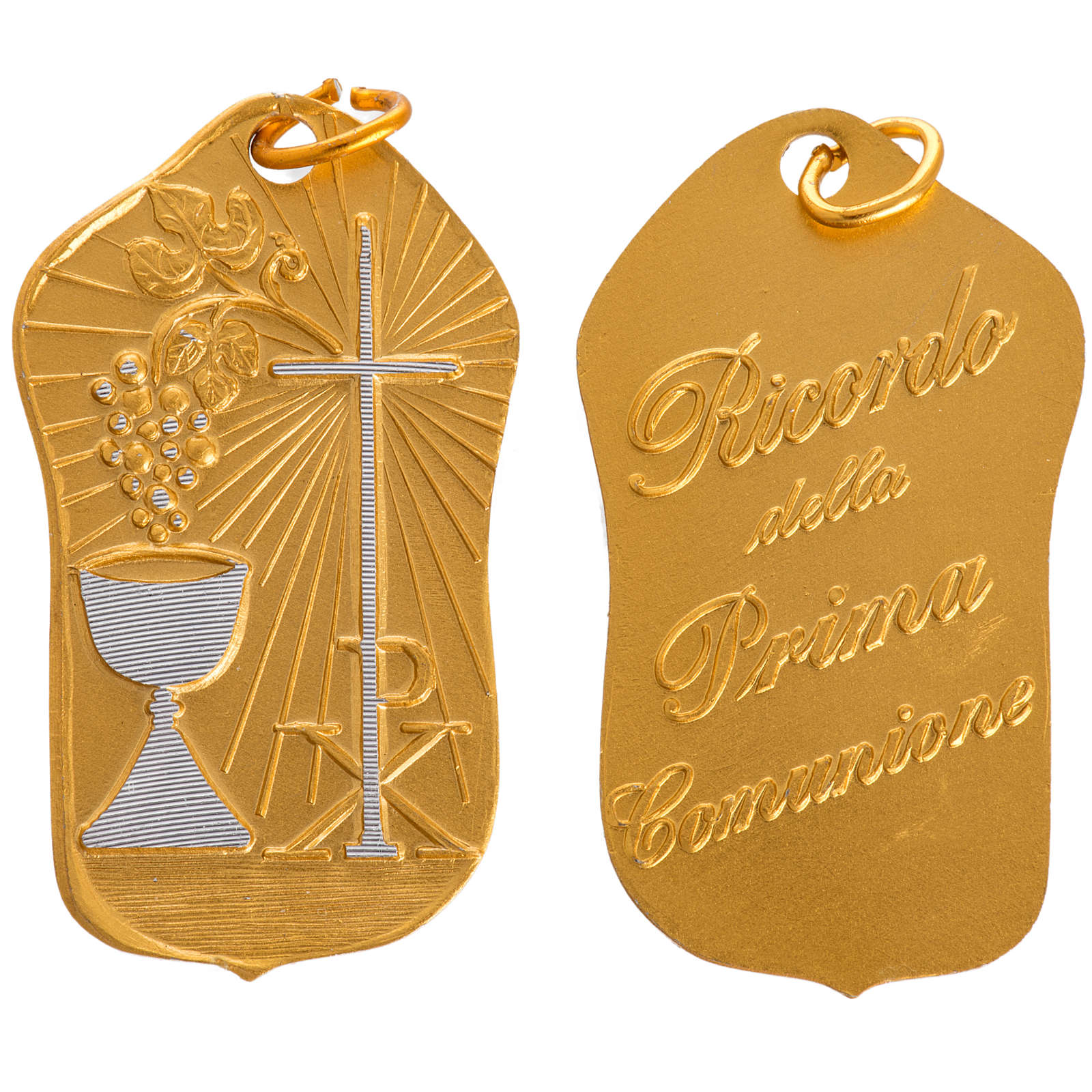 STOCK Medaglia Prima Comunione alluminio dorato 35 mm 4
