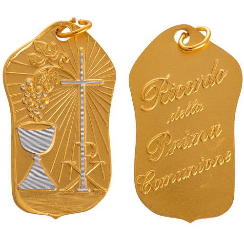 STOCK Medaglia Prima Comunione alluminio dorato 35 mm 1