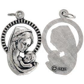 Médaille Vierge à l'enfant métal oxydé 26mm s1