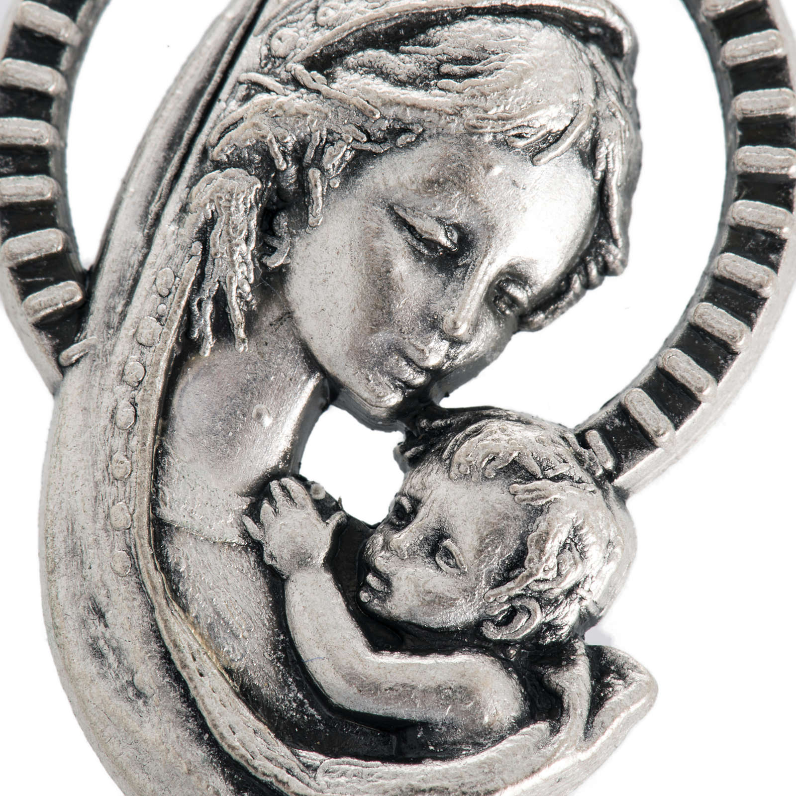 Our Lady and baby, medal in oxidised steel 26mm 4