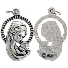 Our Lady and baby, medal in oxidised steel 26mm s1