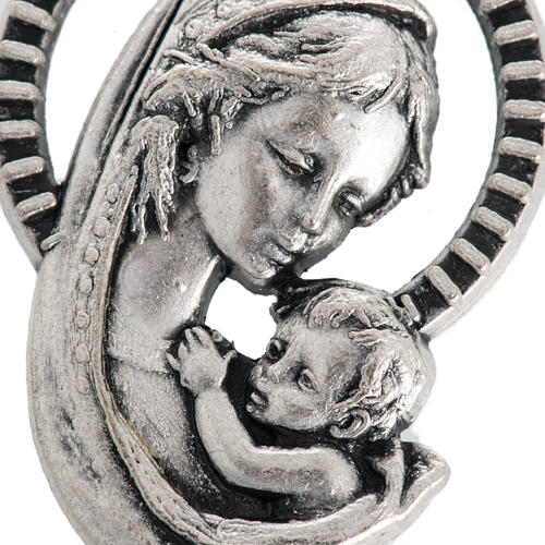 Our Lady and baby, medal in oxidised steel 26mm 2