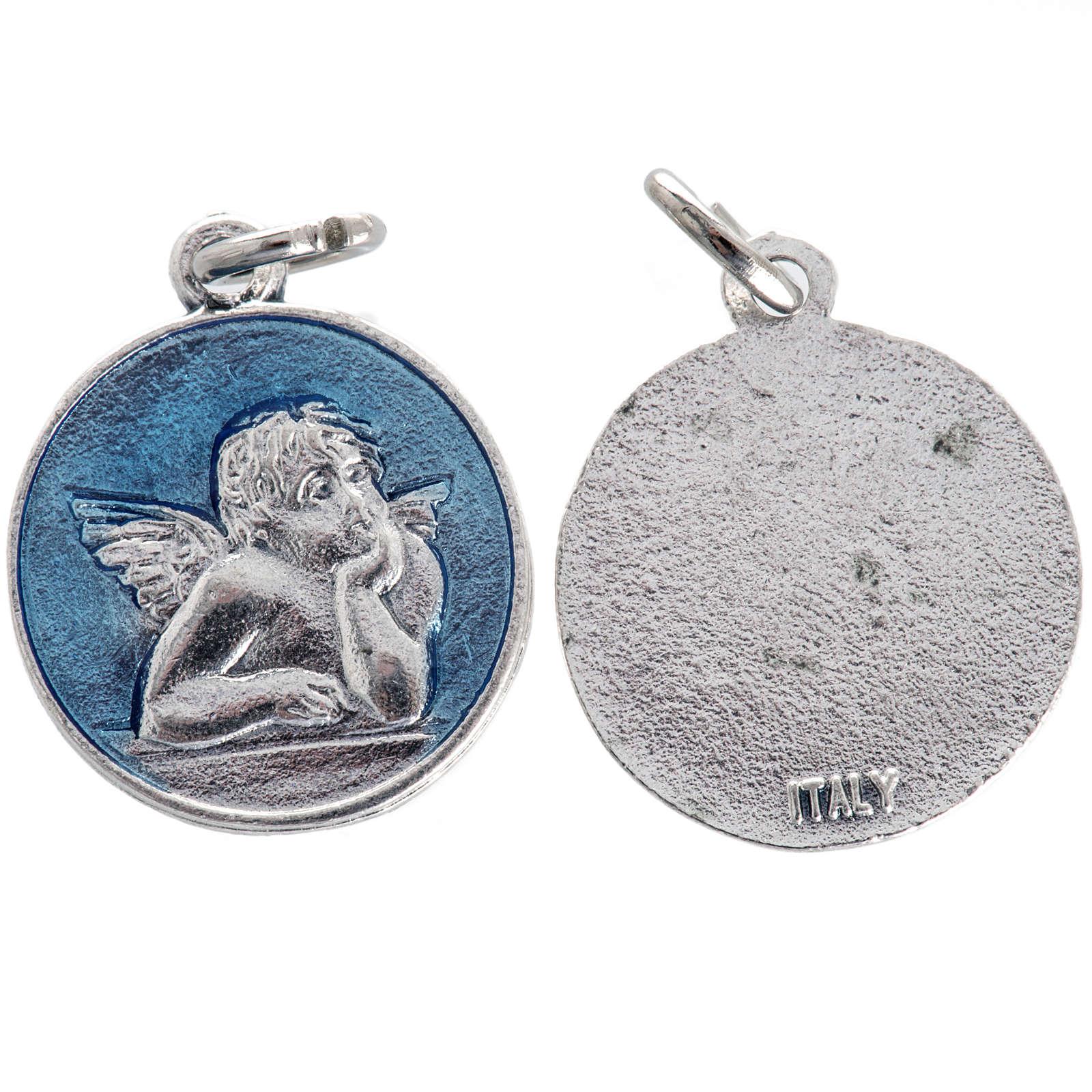 Medaglia angelo smaltata azzurro 2 cm 4