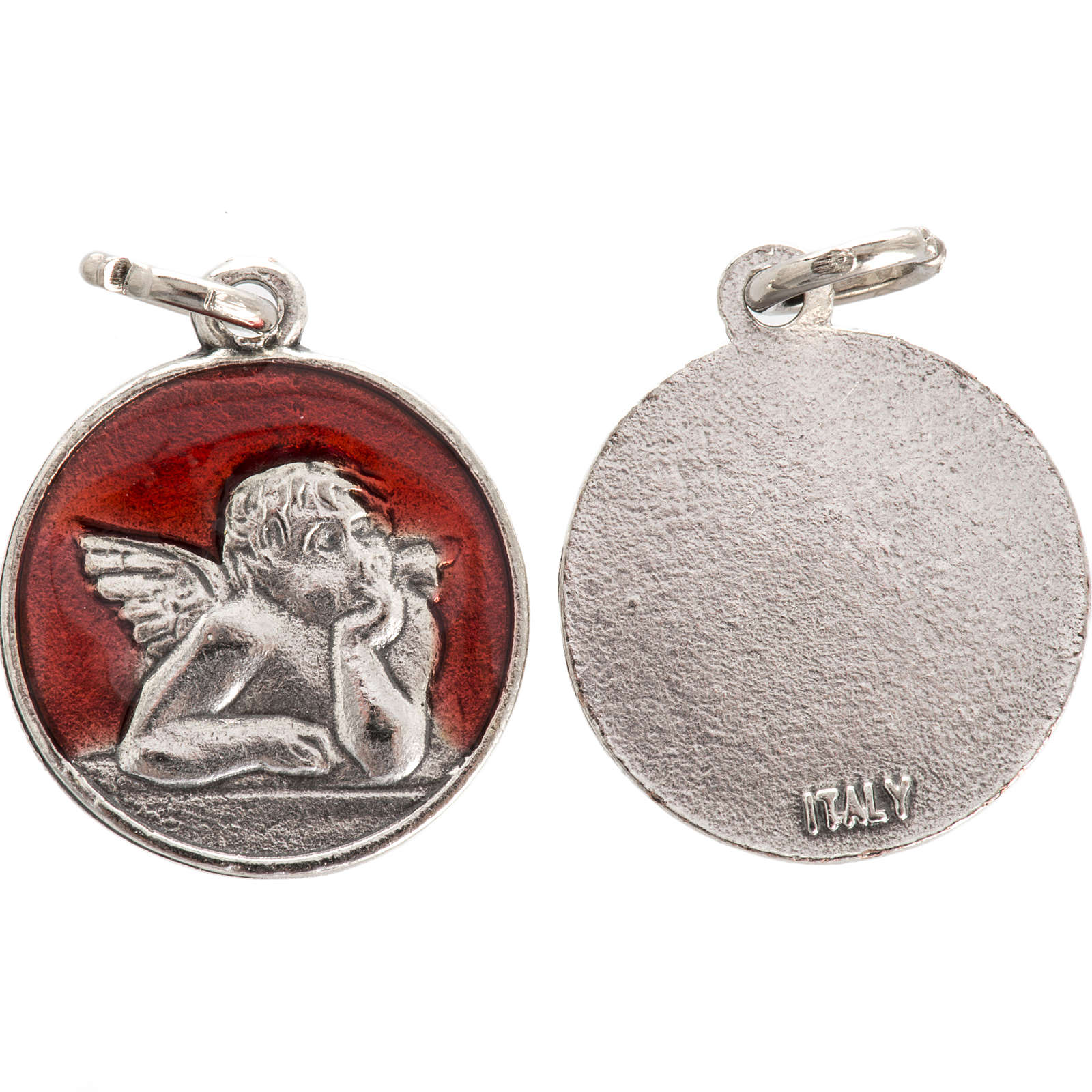 Medal with angel, red enamel 2cm 4