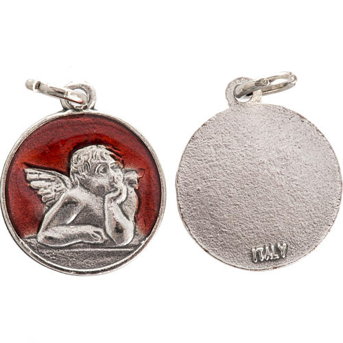 Medal with angel, red enamel 2cm 1