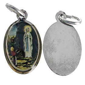 Médaille Notre Dame de Lourdes ovale nickelée 18mm s1