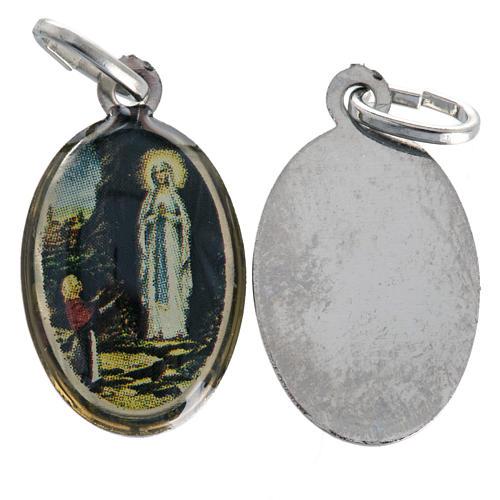 Médaille Notre Dame de Lourdes ovale nickelée 18mm 1