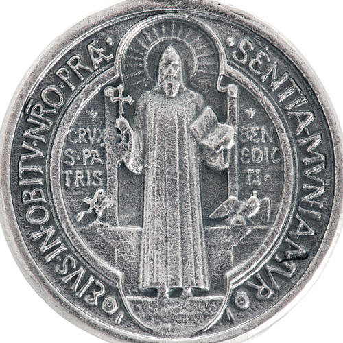 St Benedict medal in silver plated metal, 3 cm 2