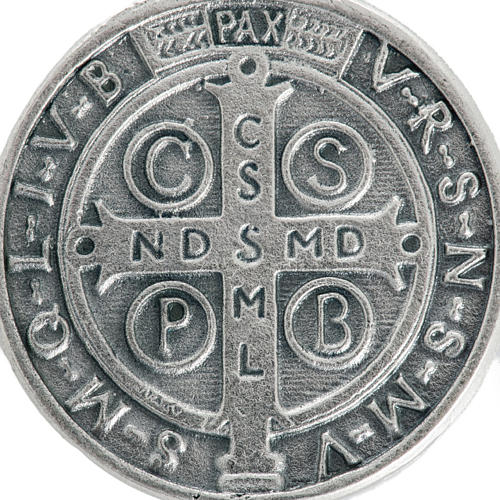 St Benedict medal in silver plated metal, 3 cm 3