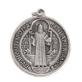 Medalla San Benito metal plateado de 3cm s1