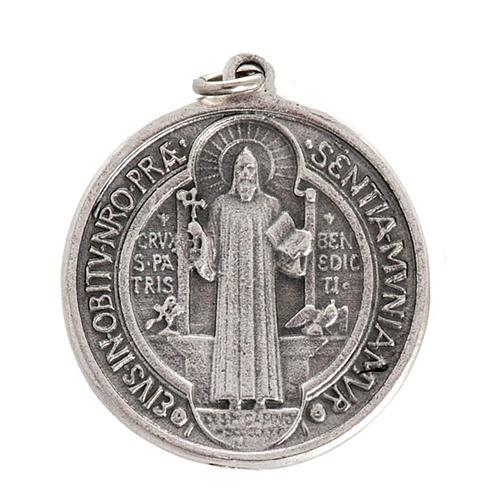 Medalla San Benito metal plateado de 3cm 1