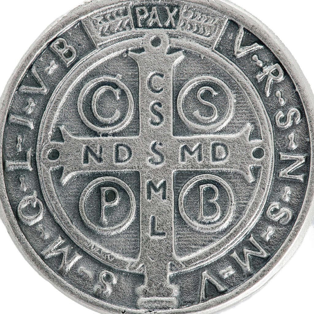 Medaglia San Benedetto metallo argentato 3 cm 4