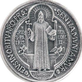 Medalha São Bento metal prateado 3 cm