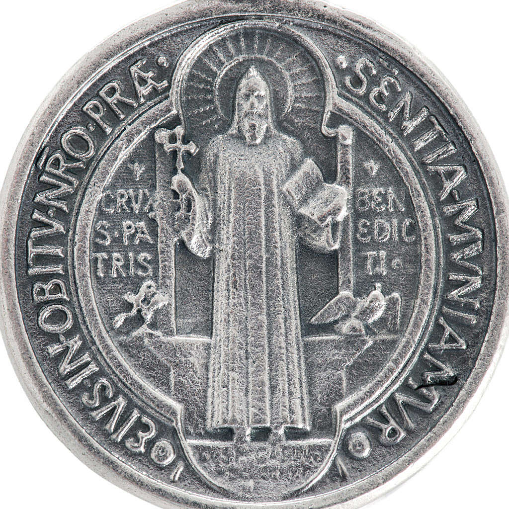 St Benedict medal in silver plated metal, 3 cm 4