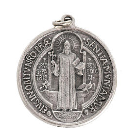 St Benedict medal in silver plated metal, 3 cm s1