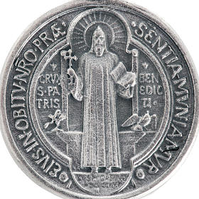 St Benedict medal in silver plated metal, 3 cm s2