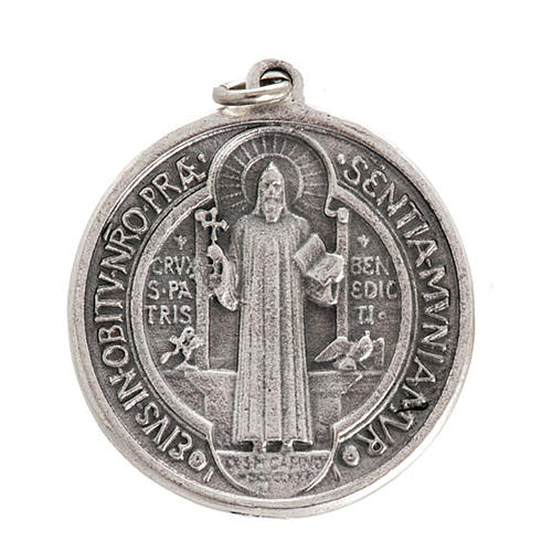 St Benedict medal in silver plated metal, 3 cm 1