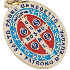 Medaglia San Benedetto ottone smaltato 26 mm s3