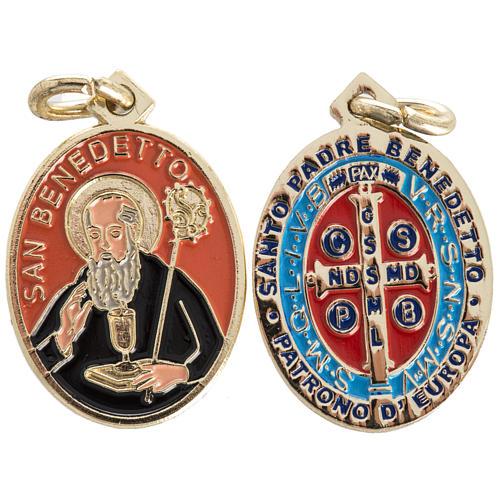 Medaglia San Benedetto ottone smaltato 26 mm 1