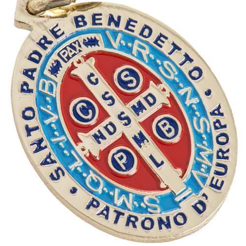 Medaglia San Benedetto ottone smaltato 26 mm 3