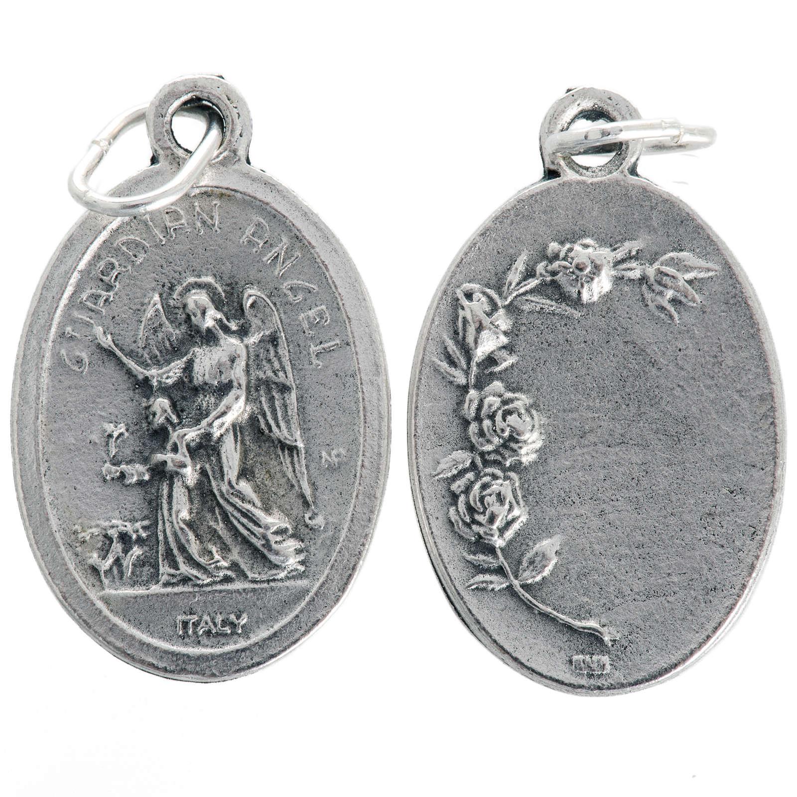 Medaglia Angelo Custode ovale metallo ossidato 20 mm 4