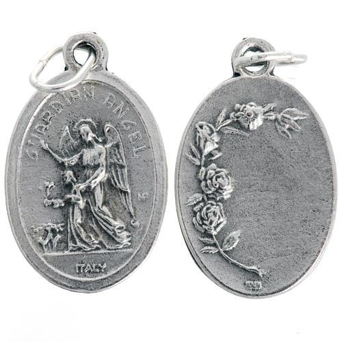 Medaglia Angelo Custode ovale metallo ossidato 20 mm 1