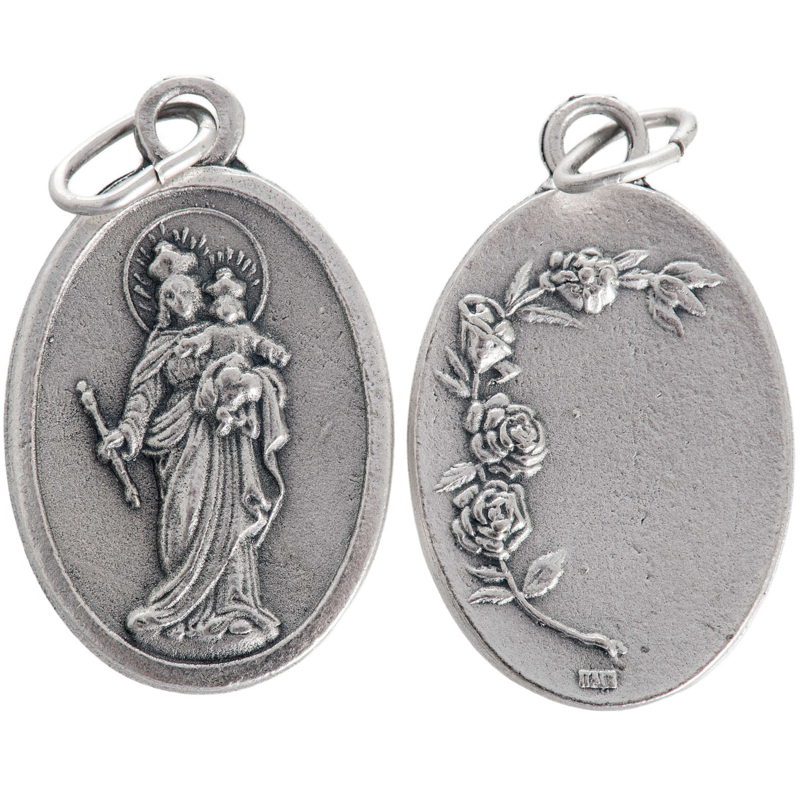 Mary Help of Christians medal, oxidised metal 20mm 4