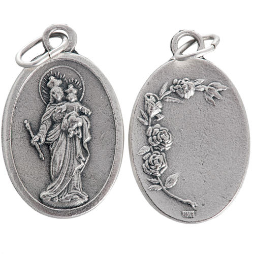 Mary Help of Christians medal, oxidised metal 20mm 1