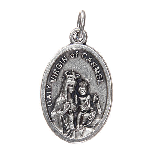 Our Lady of Mount Carmel medal, oxidised metal 20mm 1