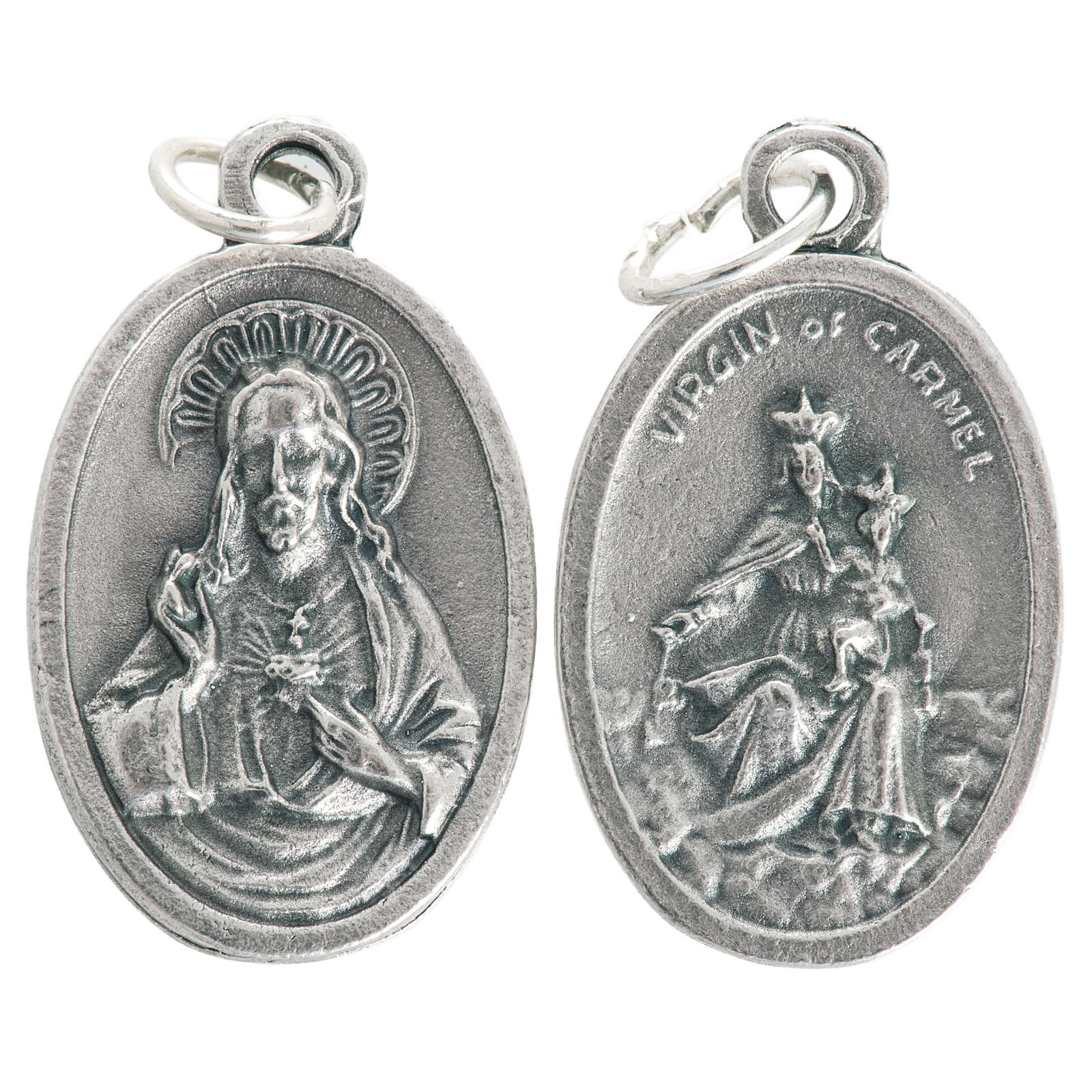 Medaglia Madonna Carmine ovale metallo ossidato 20 mm 4