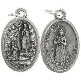 Medalla de la Virgen de Lourdes ovalada metal oxidado 20mm s1