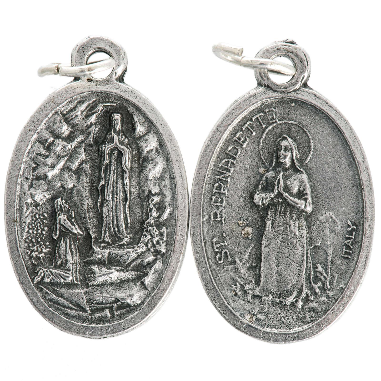 Medaglia Madonna Lourdes ovale metallo ossidato 20 mm 4