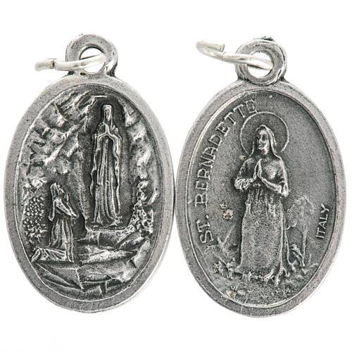 Medaglia Madonna Lourdes ovale metallo ossidato 20 mm 1