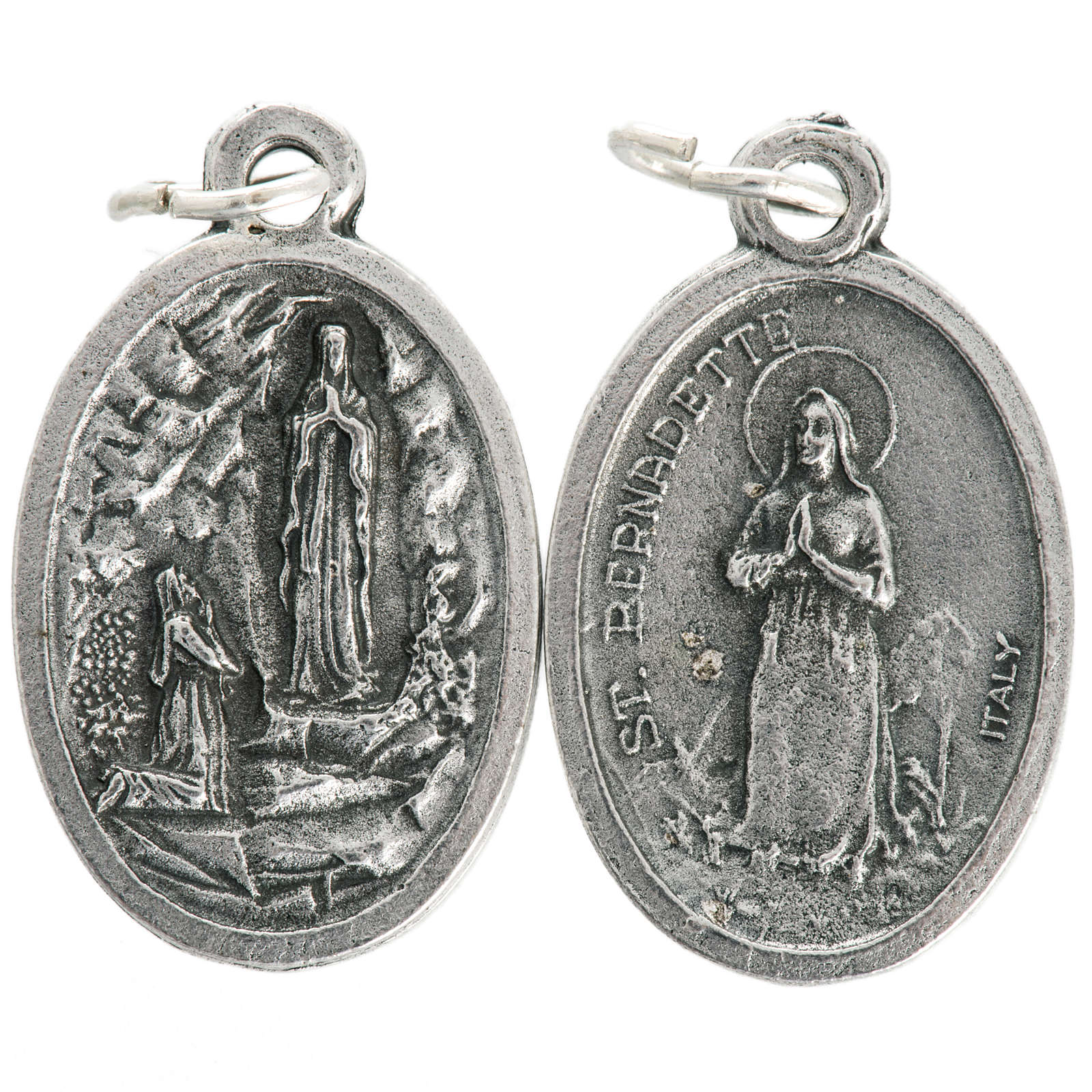 Our Lady of Lourdes oval medal in oxidised metal 20mm 4