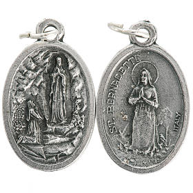 Medals: Our Lady of Lourdes oval medal in oxidised metal 20mm