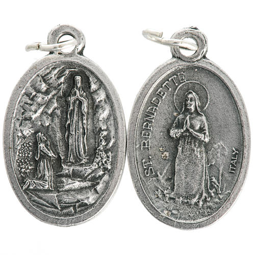 Our Lady of Lourdes oval medal in oxidised metal 20mm 1