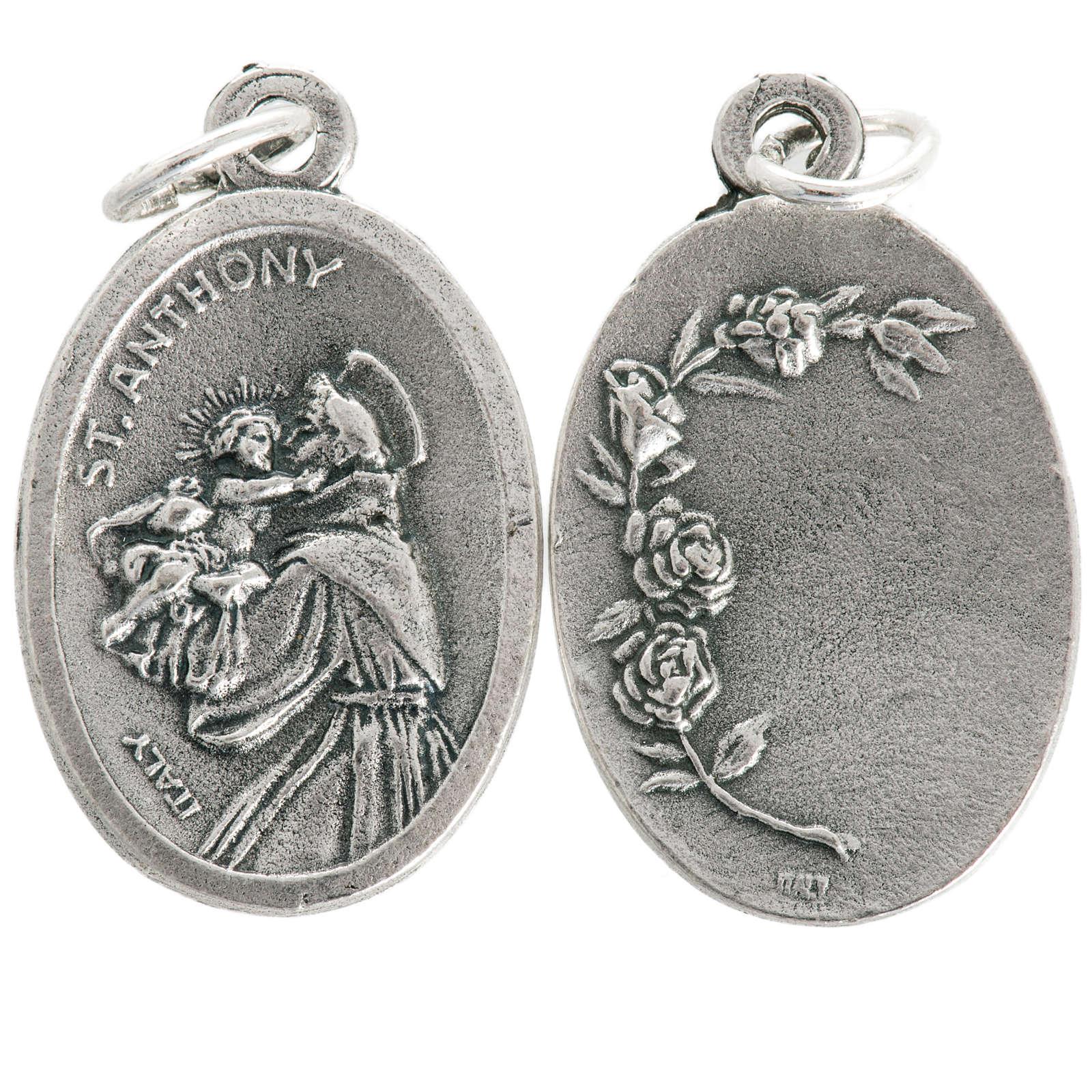 Medaglia devozionale Sant'Antonio ovale metallo 20 mm 4