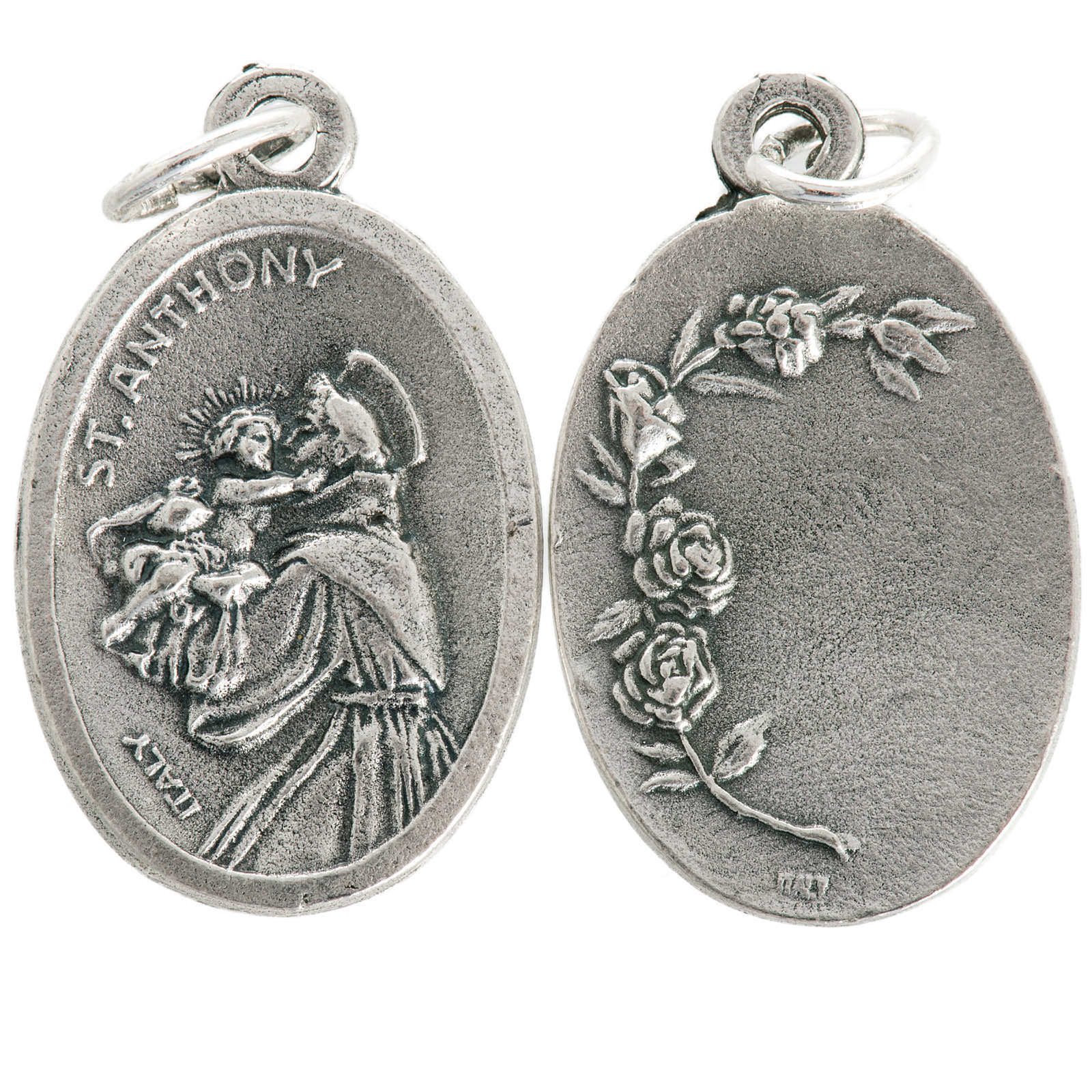 Saint Anthony devotional oval medal in metal 20mm 4