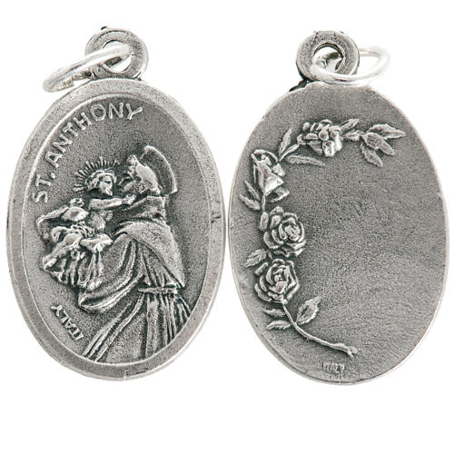Saint Anthony devotional oval medal in metal 20mm 1