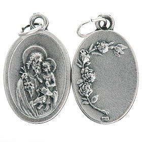 Saint Joseph oval medal in oxidised metal 20mm s1